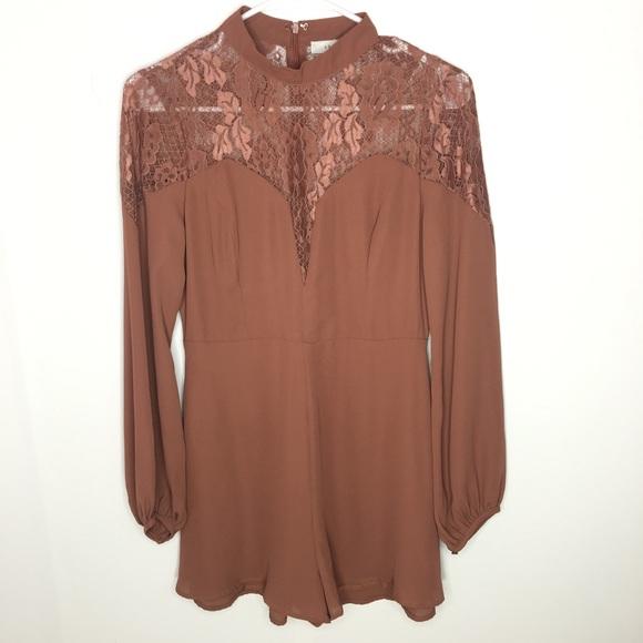 Lush Pants - Lush Long Sleeve Lace Shoulder Romper Size S